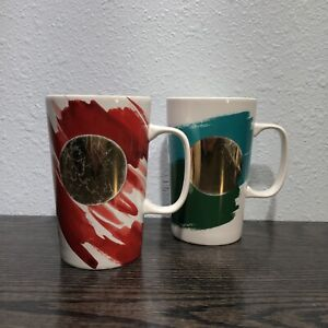 2 Starbucks Abstract Design Gold Dot (1) Red (1) Green 16oz Tall Mugs 2014