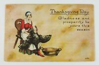 Postcard Thanksgiving Day Lady with Turkey