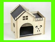 GATTO IN LEGNO piccolo cane pet casa accogliente con materasso letto misura 50cm x 30 cm