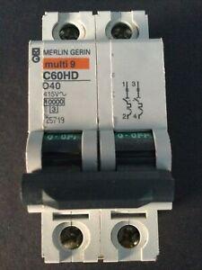 Merlin Gerin 25719 Multi 9 C60HD D40 40A Double Pole MCB