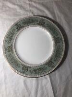 "Set of 4 Dinner Plates Wedgwood Gold Columbia Sage Green Fine Bone China 10 3/4"""