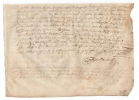 c1600 manuscript post medieval signed parchment document DAMAGED differen inks