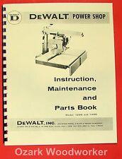 Dewalt Power Shop 1200 Amp 1400 Radial Arm Saw Instructions Amp Parts Manual 0262