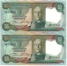 ANGOLA PORTUGAL 2 X 50 ESCUDOS RUNNING NUMBERS 1972 PICK 100 UNC