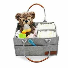 Strong, Durable, Light weight Grey Felt Diaper Tote for Boy Girl - 13 x 9 x 7 i