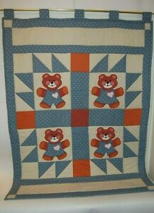 "Vintage Handmade Baby Teddy Bear Quilt Burnt Red & Blue, Beige  38 1/2"" X 51"""