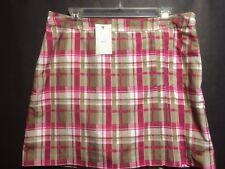 IZOD Golf Skort Sz 10 Womens Plaid Pleated w Pocket and Side Zipper Skirt Shorts