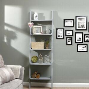 5 Tier Grey Ladder Wall Shelf Home Storage/Display Unit Bookcase Stand Bathroom