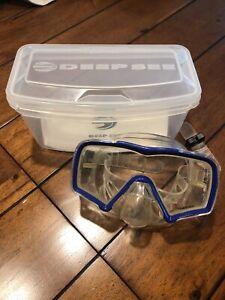 DEEP SEE Encounter Tempered Scuba Goggles Mask Blue Frame Adjustable Strap, Case