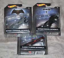3 HOT WHEELS CARS BATMAN CLASSIC BATMOBILE BATMAN FOREVER BATMAN V SUPERMAN