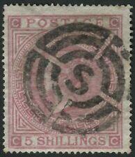 SG126 Pl1 1867-83 5s Rose Pl1 CC, central S target cancellation of Elder
