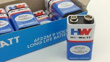 Pack of 10 HW 9V Carbon Zinc Battery 6F22 (Original Hi-Watt)