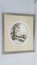Edenburg Signed Landscape Color Etching Framed 17x20