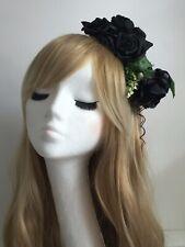 Black Rose Flower Fascinator Headpiece Headband Hair Crown Hairband Boho