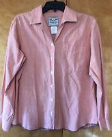 Wrangler Orange & White Micro Plaid Long Sleeve Shirt Women's Size M