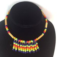 BOHO VTG Retro Light Wood & Multicolor Glass Bead Choker Necklace Jewelry G004