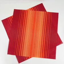Fiesta Square Polyvinyl Placemats Set Of 2 Haze Scarlet 15X15 Inches Red Orange