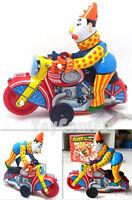MS629 Clown on Motorcycle Retro Clockwork Wind Up Tin Toy w/Box