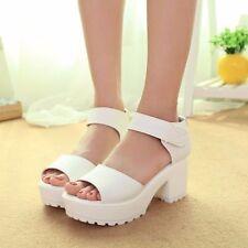 Summer Women Chunky Heel Platform Peep Toe  Preppy Sandals Shoes Pumps