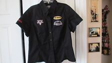 HARLEY DAVIDSON Womens Med Button Front GARAGE SHIRT Blouse Black  Patches!