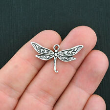 6 Butterfly Charms Antique Silver Tone Spring Garden Pendants Insects 15mm