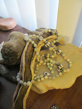 Silver tone White, Light Pastel Agate Lampwork bead Knotted necklace + bracelet