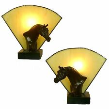 Horse Table Lamp Pair of Table or Bedside Lamps - Tiffany Glass Fan