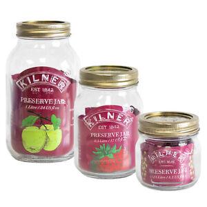 3 x Kilner Screw Top Glass Preserving Jars Jam Marmalade Pickle 0.25L 0.5L 1L