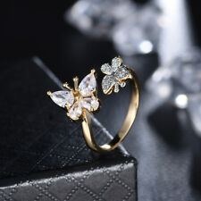 Fashion Charms Women Made With Swarovski Crystal Gold Butterfly Ring Adjustable