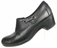 Clarks Clogs Ankle Booties - Side Zip Black Leather Heels Women's Sz 8.5 M