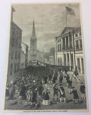 1884 magazine engraving ~ EVACUATION OF NEW YORK BY BRITISH ~ Wall Street