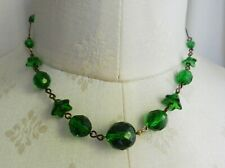 Art Deco Style Emerald Green Czech Glass Flowers And Beads Necklace