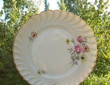 6 Platos Llanos Porcelana de Limoges Torse Flores Y Dorado Lote 1