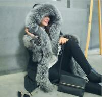 Luxury Ladies Fur Hooded Winter Down Outwear Fur Lined Parka Coat Warm New Chic