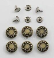 6pc Antique Bronze 17mm Jeans Jacket Denim Buttons Hammer Press Repair Tack