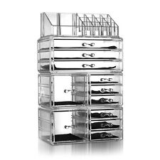 4Pcs/Set Acrylic Cosmetics Makeup Storage Display Case Organizer Large Drawers