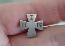 """1886 Seal IHN Sterling Silver """"In His Name"""" Cross Lapel Pin"""