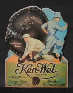"""Vintage KEN-WEL LOU GEHRIG """"Famous Stars Model"""" glove store display FREE SHIP!"""