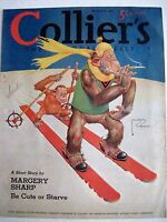 Fantastic 1940 Collier Magazine Cover Page by Lawson Wood of Gran'pop on Skis*