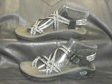 Chaco women's black multi color canvas thong slingback sandal shoes size US 9