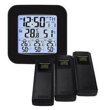 Numérique Sans fil Météo Gare Thermomètre 3 Capteur Température Humidité Mètre