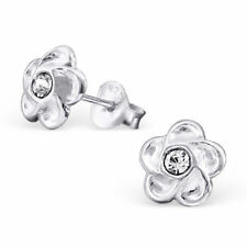 Childrens Girls Sterling Silver Flower with Clear Crystal Stud Earrings - Boxed