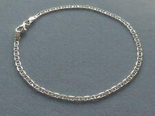 "NEW  ITALIAN STERLING SILVER ANKLE BRACELET-9""- MARINA LINK-060-ITALY 925"
