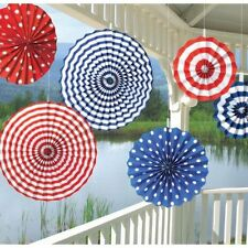 United States America American Red White Blue Paper Fans Decorations 290506