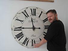 LARGE  VINTAGE LOOKING ANTIQUE BELLE EPOQUE WALL CLOCK 99CM IN DIAMETER 6A1K