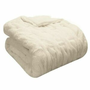 Madison Park Reversible Ruched Faux-Fur Throw Blanket Ivory