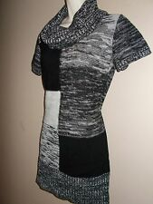 Alyx Womens Size M Chambray Multi-Color Cowl Neckline Short Sleeve Tunic Sweater