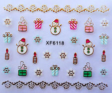 Christmas 3D Nail Art Stickers Decals Gold Snowflakes Snowman Presents (XF6118)