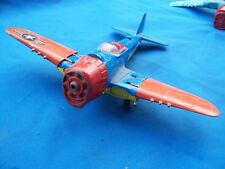 Hubley Kiddie Toy Airplane #495 Folding Wings Red blue yellow no prop or canopy