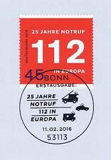 BRD 2016: Notruf 112 Nr. 3212 mit sauberem Bonner Ersttagssonderstempel! 1A 1606